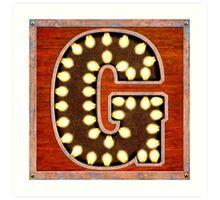 Vintage Lighted Sign - Monogram Letter G Art Print