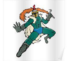 Knight Wield Fiery Sword Cartoon Poster