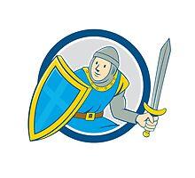 Medieval Knight Shield Sword Circle Cartoon by patrimonio