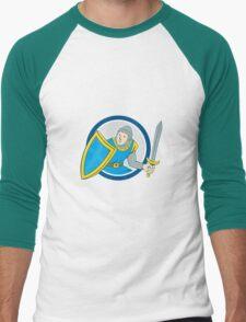 Medieval Knight Shield Sword Circle Cartoon T-Shirt