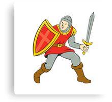 Medieval Knight Shield Sword Standing Cartoon Canvas Print