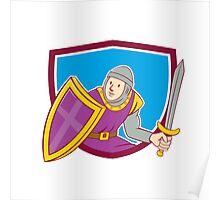 Medieval Knight Shield Sword Cartoon Poster
