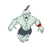 Orc Warrior Jumping Front Cartoon Photographic Print