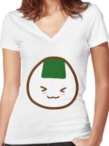 Kawaii Onigiri Women's Fitted V-Neck T-Shirt