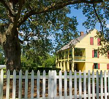 House with a white picket fence . . . by Bonnie T.  Barry