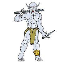 Orc Warrior Sword Dagger Cartoon by patrimonio