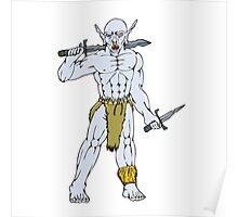 Orc Warrior Sword Dagger Cartoon Poster