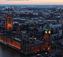 Areal View of London, England and The Houses of Parliament by atomov