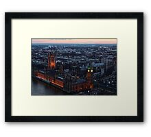 Areal View of London, England and The Houses of Parliament Framed Print