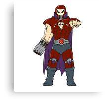 Skull Masked Warrior Pointing Cartoon Canvas Print
