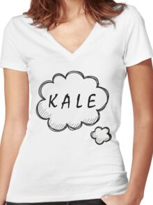 Thinking about Kale Women's Fitted V-Neck T-Shirt