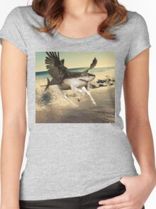 A Shark with Horse Legs and Wings. Women's Fitted Scoop T-Shirt