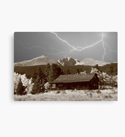 Mountain Lightning Landscape Canvas Print