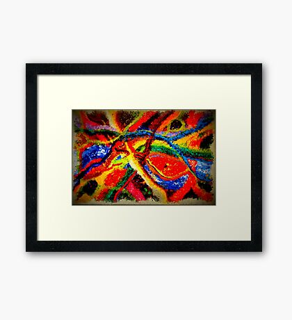 Colorful Abstract Painting on Canvas Titled: Colored River Framed Print