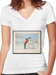 Confession to the snowman Women's Fitted V-Neck T-Shirt