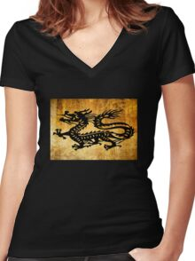 Vintage Dragon Women's Fitted V-Neck T-Shirt