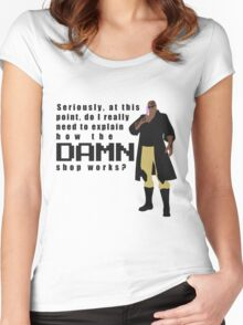 Do I really have to explain how the DAMN shop works? Women's Fitted Scoop T-Shirt