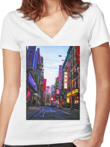 Chinatown NYC Women's Fitted V-Neck T-Shirt