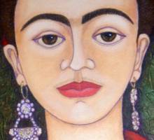 Frida portrait with dalias closer Sticker