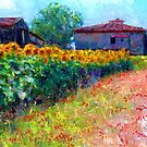 sunflower field/ after the style of Monet by bev langby