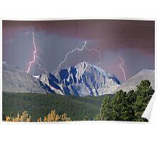 Longs Peak and Lightning Bolts Poster
