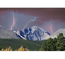Longs Peak and Lightning Bolts Photographic Print