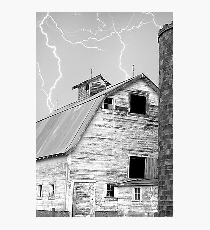 Barn with Lightning Sky Photographic Print