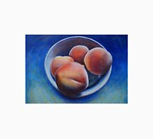 Ripe, fuzzy peaches on a blue background Unisex T-Shirt