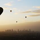 Melbourne Skyline from a Balloon by Clare McClelland