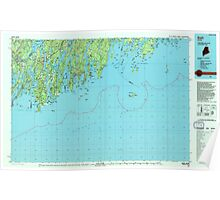 Maine USGS Historical Map Bath 807777 1985 100000 Poster