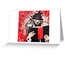 Intelligent man conducting business research Greeting Card