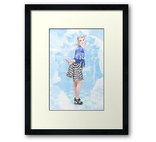 Housewife doing a spring clean in kitchen Framed Print
