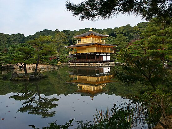 Kinkaku-ji, the golden temple and the Mirror Pond by Peter Zentjens