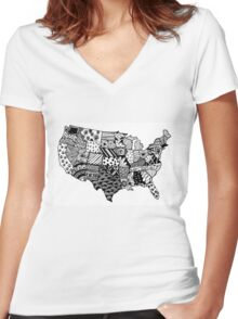 United States Zentangle! Women's Fitted V-Neck T-Shirt