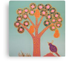 Partridge In A Pear Tree (Gold) Canvas Print