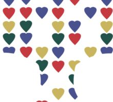 """All Heart"" Skull Hearts Bones Primary Colors Bright Red Blue Yellow Green  Sticker"