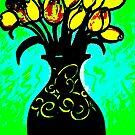 black vase w/yellow roses, rendition Norman Wyatt Jr's Ivory Buds by Rose Loya