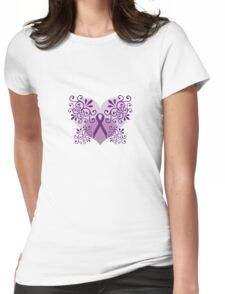 Purple Hearts Curls Ribbon Womens Fitted T-Shirt