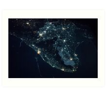 India from Space - India at night - International Space Station - NASA Art Print