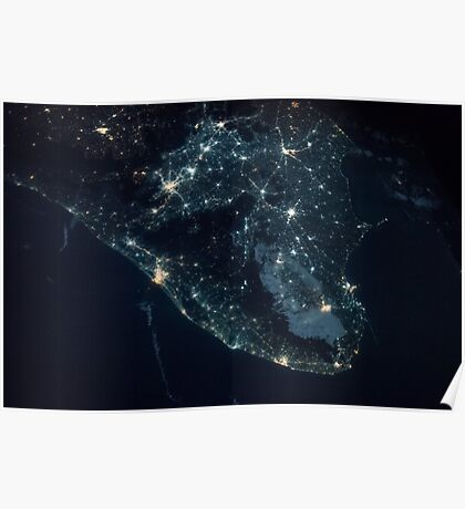 India from Space - India at night - International Space Station - NASA Poster
