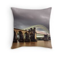 A dark sky and the two bridges  Throw Pillow