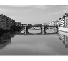 Florence, Italy   Bridge Shot as before but Black and white Photographic Print