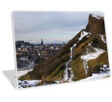 Salisbury Crags and Edinburgh Castle in winter Laptop Skin