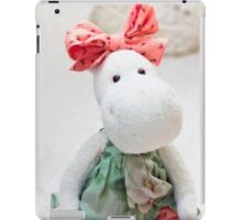 White hippo toy with textile and sewing accessory iPad Case/Skin