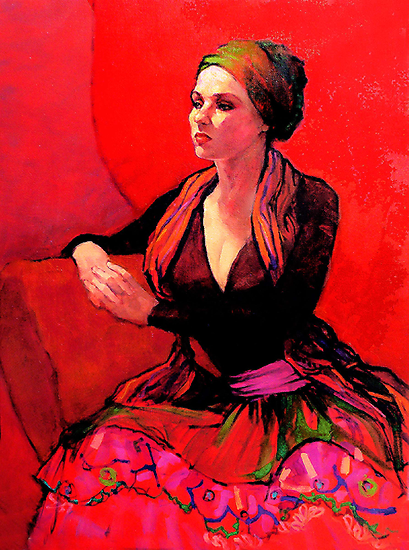 The Gypsy Skirt, oil painting on stretched canvas by Roz McQuillan