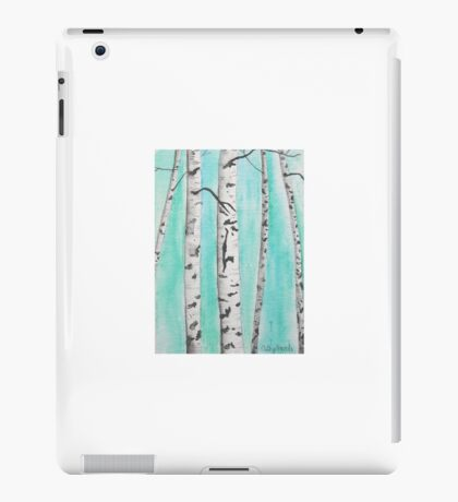 Birch Trees Painting with Turquoise Background - Woodland Landscape Abstract iPad Case/Skin