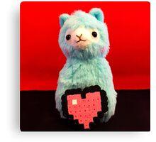 Blue Alpaca Valentines Canvas Print