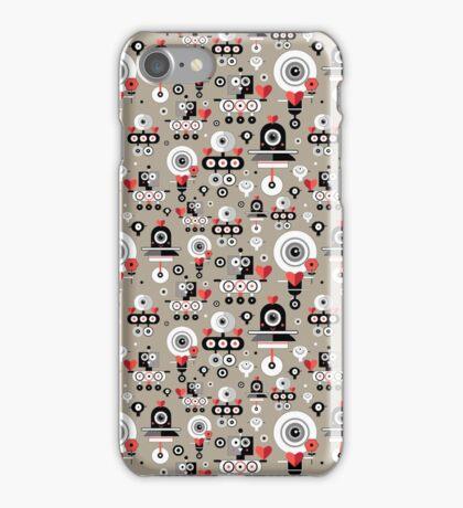 pattern amusing lovers robots iPhone Case/Skin