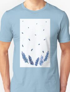 Vector watercolor lavender with blue bright watercolor ribbon. T-Shirt
