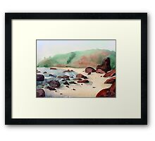 Tropical beach at sunset - nature background watercolor Framed Print